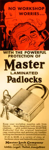 Master Lock's laminated padlocks began production in a single room in a small commercial building in Milwaukee, WI. The room consisted of a drill press, grinder, punch press, and five employees.